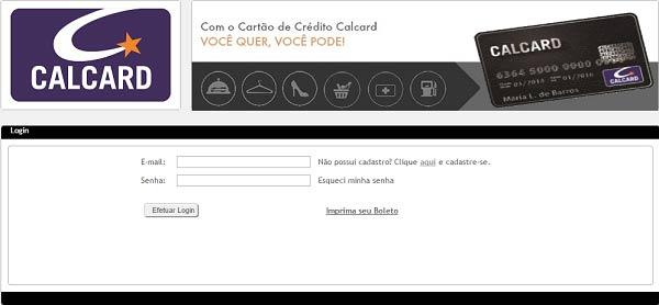 informações ou emissão da  fatura cartão Calcard