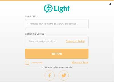 light 2 via de conta agência virtual